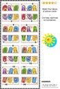 Visual puzzle - match the halves - colorful flip-flops