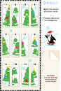 Visual puzzle match the halves of picture cards christmas and fir trees of various sizes with baubles and stars answer included Royalty Free Stock Photos