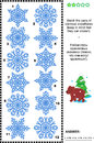 Visual puzzle match the pairs of identical snowflakes winter and holidays themed answer included Royalty Free Stock Photos