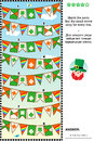 Visual puzzle with rows of St. Patrick`s Day bunting flags