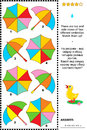 Visual puzzle with top and side views of umbrellas colorful there are four different match them up plus same task text in Stock Photo