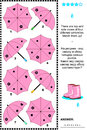 Visual puzzle with top and side views of umbrellas pink there are four different match them up answer included Stock Photos