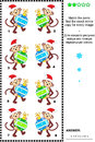 Visual riddle with christmas monkeys and baubles or new year themed puzzle match the pairs find the exact mirrored copy for every Royalty Free Stock Photos