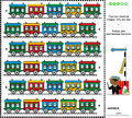 Visual riddle find two identical trains railroad themed puzzle pictures of colorful retro answer included Stock Images
