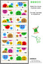 Visual riddle match the halves colorful buttons puzzle of picture cards with sewing answer included Stock Image
