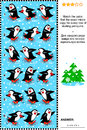 Visual riddle with rows of skating penguins christmas winter or new year puzzle match the pairs find the exact mirror copy for Royalty Free Stock Photo