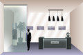 Visualization of the reception room with reception desk