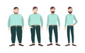 Visualization of weight loss stages of male cartoon character, from fat to slim. Concept of body changing through diet