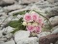 Vita rosa ro för bukett Royaltyfri Bild