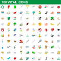 100 vital icons set, cartoon style