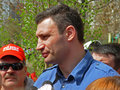 Vitaliy klitschko kiev ukraine april meets kiev citizens while his electional campaign to kiev city major elections Stock Photos