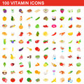 100 vitamin icons set, isometric 3d style