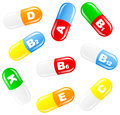 Vitamin pills vector illustration of Royalty Free Stock Photo