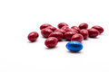 Vitamin pills on white background. Choose red pill or blue pill Royalty Free Stock Photo