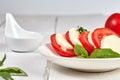 Vitamin snack with tomatos and mozzarella caprese Royalty Free Stock Photo
