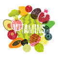 Vitamins. Fruit grunge style poster. Collection of retro fruits and vegetables. Retro vector illustration.