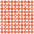 100 vitamins icons hexagon orange