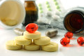 Vitamins supplements composition with different pills and tablets Royalty Free Stock Photography