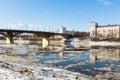 Vitebsk belarus march kirov bridge in snowbreak s thaw debacle Royalty Free Stock Photos