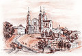 Vitebsk castle graphic drawing view of uspensky cathedral in belarus Stock Photo
