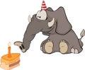 A vitela do elefante e um bolo da fatia. Cartoo Imagens de Stock Royalty Free