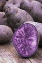 Vitelotte blue violet potato solanum x ajanhuiri vitelotte noir Royalty Free Stock Images