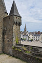 Vitré brittany france main castle and town view medieval village of Royalty Free Stock Images