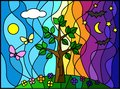 Vitr day night tree nature and stained glass style stained glass window Stock Image