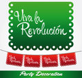 Viva la revolucion long live the revolution spanish text vector mexican decoration Royalty Free Stock Images