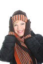 Vivacious woman in winter fashion Stock Photos