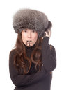 Vivacious woman in winter outfit Royalty Free Stock Photography