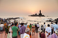 Vivekananda and thiruvalluvar statues kanyakumari india march many piligrims at the sunrise near rock memorial statue on march Stock Photography