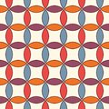 Vivid abstract background with overlapping circles. Petals motif. Seamless pattern with classic geometric ornament