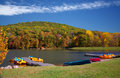 Vivid Autumn Lake Boating Scene Royalty Free Stock Photo