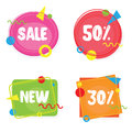 Vivid banners discount offer price label, sale, discount sticker, ad offer on shopping day in memphis design style.