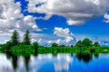 Vivid blue and green landscape Royalty Free Stock Photo