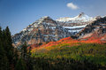 Vivid dawn fall glow in the Wasatch Mountains. Royalty Free Stock Photo