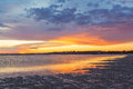 Vivid glowing sunset at Inverloch foreshore beach, Australia Royalty Free Stock Photo