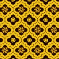 Vivid Gold decorated moroccan seamless pattern with cute floral designs