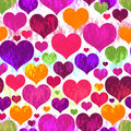 Vivid motley seamless valentine pattern grunge with translucent colorful hearts vector eps Royalty Free Stock Photos