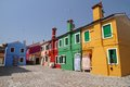Vivid painted houses in Burano Stock Photo