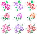 Vivid pastel roses icon in diiferent color and sty style create by vector Stock Photography