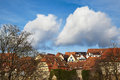Vivid sky over old houses famous medieval town rothenburg ob der tauber germany Royalty Free Stock Photography