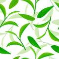Vividly flying green tea leaves, Seamless vector pattern. white background 3d illustration
