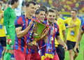 Vlad chiriches of steaua bucharest rising the trophy rises after romanian supercup between bucharesta and petrolul ploiesti Stock Photos