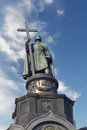 Vladimir the great monument of holding a cross over blue cloudy sky kiev ukraine Stock Images