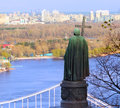 Vladimir the great statue of over cityscape kiev Stock Photography