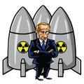 Vladimir Putin Cartoon with Nuclear Missiles. Vector Illustration. August 12, 2017