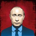 Vladimir Putin portrait, line art illustration vector Royalty Free Stock Photo