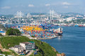 Vladivostok, Russia - circa August 2015: Commercial trade port in Vladivostok, Russia Royalty Free Stock Photo